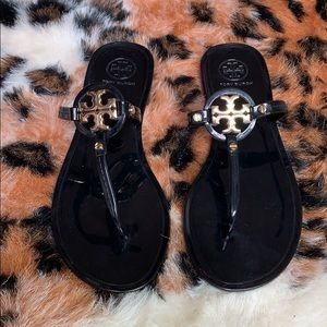 Women's black and gold Tory burch jelly sandals